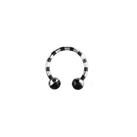 Piercing fer à cheval 12mm zébré noir Fea Piercing oreille5,90€