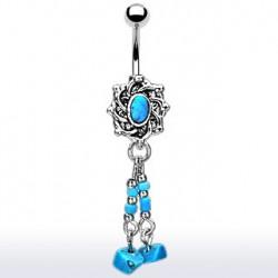 Piercing nombril rétro médaillon bleu Kot NOM241