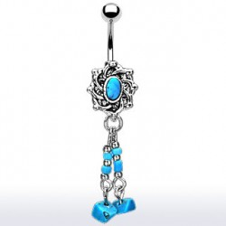 Piercing nombril style rétro avec médaillon bleu Kot Piercing nombril6,49€