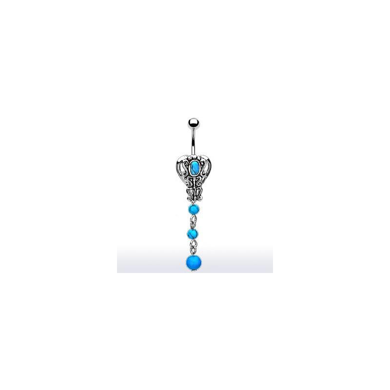 Piercing nombril style rétro bleu turquoise Ky Piercing nombril6,70€