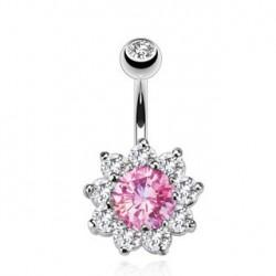Piercing nombril en fleur rose et blanc Ruz NOM253