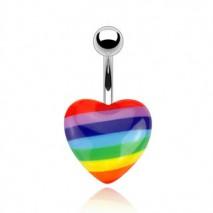 Piercing nombril avec un cœur arc en ciel Kuz Piercing nombril3,90€