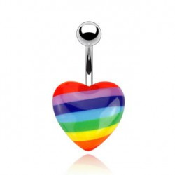 Piercing nombril coeur arc en ciel Kuz NOM256