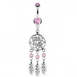 Piercing nombril piégeur de rêve rose