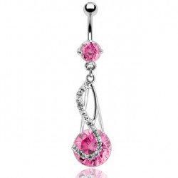 Piercing nombril note rose en zirconium rond de 14mm NOM265
