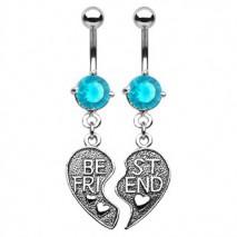 Piercings nombril deux demi cœurs bleu Zur Piercing nombril11,49€