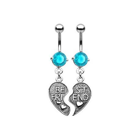 Piercings nombril deux demi coeurs bleu Zur NOM271