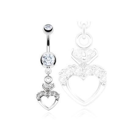 Piercing nombril cœur zirconium blanc Kyt Piercing nombril8,40€