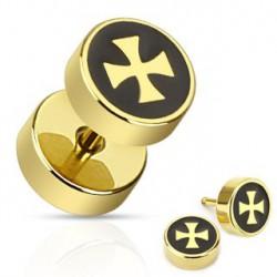 Faux piercing oreille plug doré croix chopper Via Faux piercing4,99€