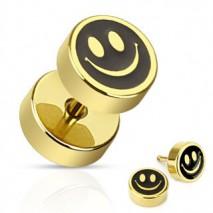 Faux piercing oreille plug jaune doré smiley Viot Faux piercing4,99€
