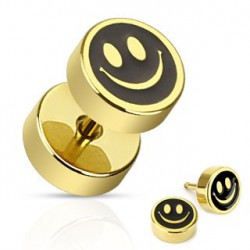 Faux piercing plug doré smiley Viot