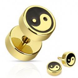 Faux piercing plug doré Yin Yang Vizu FAU113