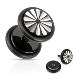Faux piercing plug acier noir fleur Wasa FAU115