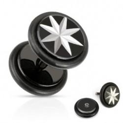 Faux piercing plug acier noir étoile Wera FAU116