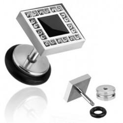 Faux piercing acier plug gravure square Goty FAU117
