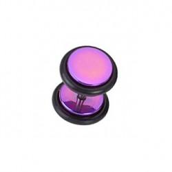 Faux piercing plug acier violet anodisé Gar