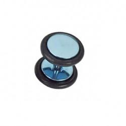 Faux piercing plug acier anodisé bleu clair Gal FAU119