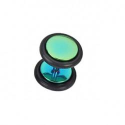 Faux piercing plug acier anodisé vert Badu FAU119