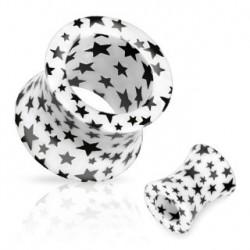 Piercing tunnel blanc étoiles noire 6mm Kny PLU073