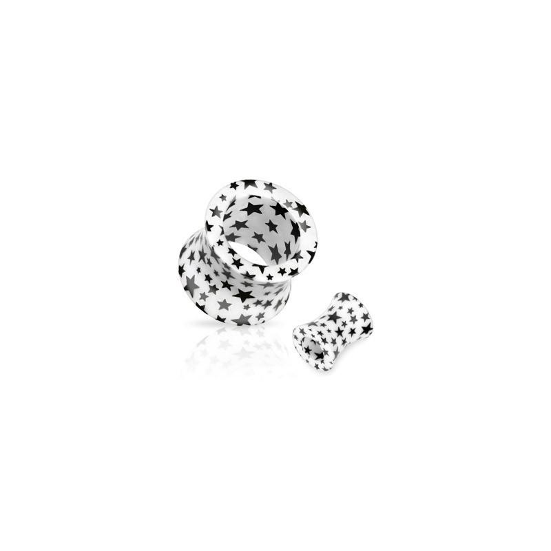 Piercing tunnel blanc étoiles noire 6mm Kny Piercing oreille3,49€