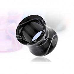 Piercing tunnel marbré noir et blanc 5mm Ut PLU074
