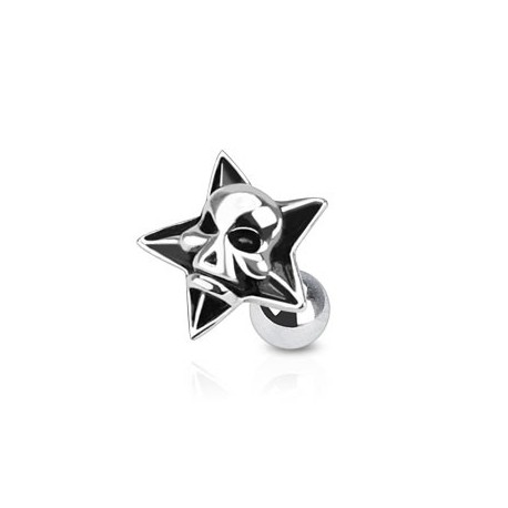 Piercing oreille tragus étoile et tête de mort Lik TRA026