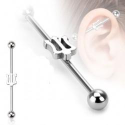 Piercing industriel acier avec trident 35mm Pea IND062