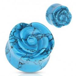 Piercing plug fleur bleu turquoise 8mm lom PLU075