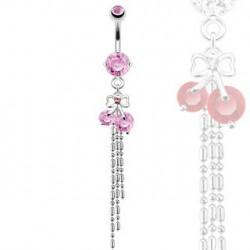 Piercing nombril avec ruban et cerise rose Fad NOM285