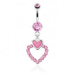 Piercing nombril double coeurs rose pendentif Kai NOM287