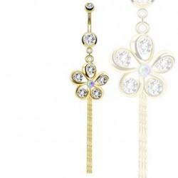 Piercing nombril doré avec une fleur blanche Cuit Piercing nombril8,85€