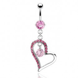 Piercing nombril coeur perle zirconium rose Ky NOM291