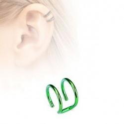 Faux piercing titanium double anneaux vert Aru FAU124