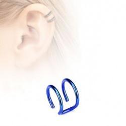Faux piercing titanium double anneaux bleu Ary FAU124