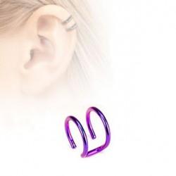 Faux piercing titanium double anneaux violet Ara FAU124