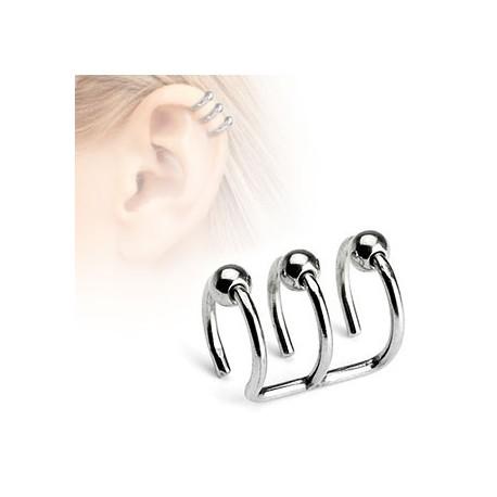 Faux piercing triple anneaux boules Dyun FAU125