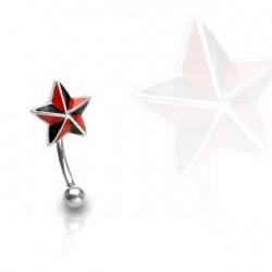 Piercing arcade 10mm avec une étoile noire et rouge Oran Piercing arcade4,60€