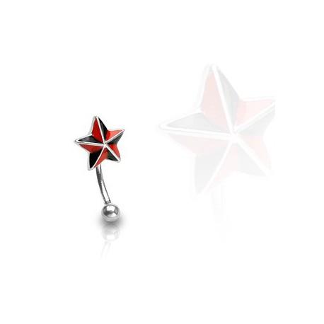 Piercing arcade étoile noire et rouge Oran ARC057