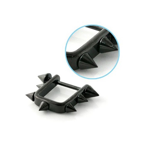 Piercing téton avec pointes noire Parinya TET010