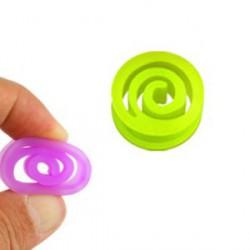 Piercing tunnel spirale silicone vert 14mm Wuaf PLU077