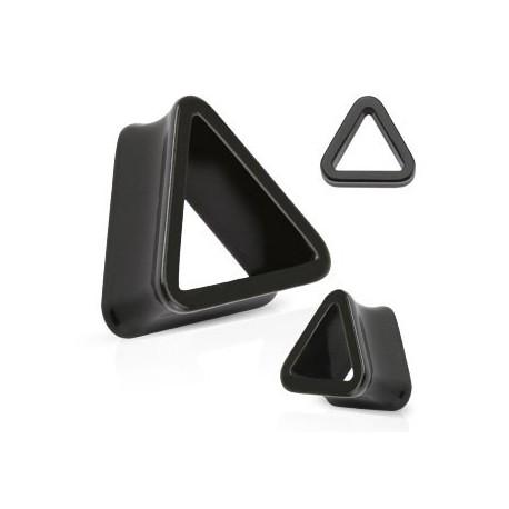 Piercing tunnel rigide triangle noir 10mm Kin PLU079
