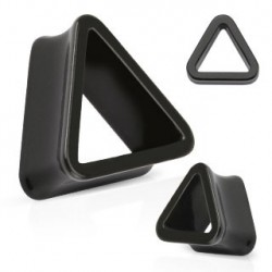 Piercing tunnel rigide triangle noir 16mm Yon PLU079