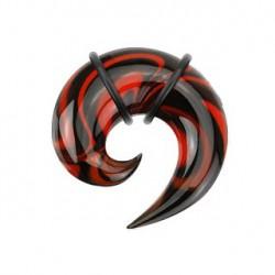 Piercing corne 6,5mm rouge et noir pyrex Sui COR059