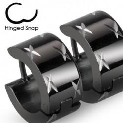 Boucle anneau oreille acier noir ciselé Cuty ANN067