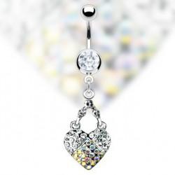 Piercing nombril coeur orné de zirconium Alez NOM302