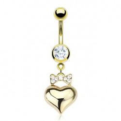 Piercing nombril coeur doré et ruban Juit NOM303