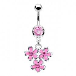 Piercing nombril pendentif avec fleur rose Oha NOM304