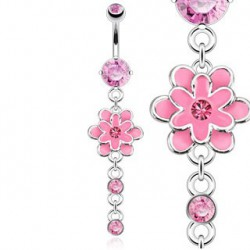 Piercing nombril avec fleur aux pétales rose Hay NOM305