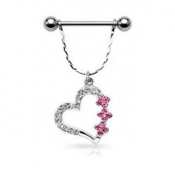 Piercing téton coeur et fleurs rose Mus
