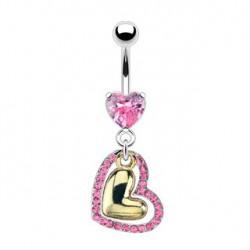 Piercing nombril rose et coeur doré Hauin NOM310